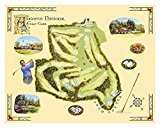 Laminated Golf Course Map, Augusta Art Print by Bernard Willington 17 x 13in